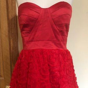 Red strapless dress